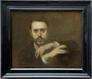 """Eugène Carrière, """"Gustave Geoffroy"""", 1891. La position des mains m'intrigue. Une bonne idée de mettre les deux portraits de Gustave Geoffroy côte-à-côte."""