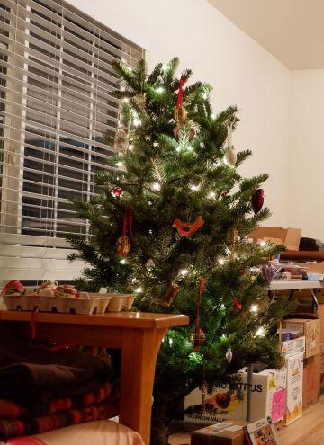 Le sapin de Noël avec ses jolies décorations et visible de l'extérieur de la maison.