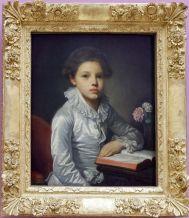 """Jean-Baptiste Greuze, """"Portrait de Charles-Etienne de Bougevin de Vialart, comte de Saint-Morys, enfant"""", 1782-1784. Comme le tableau de Labille-Guiard, j'aime beaucoup le rendu du satin."""