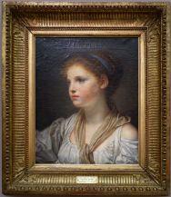 """Jean-Baptiste Greuze, """"Tête de jeune fille au ruban bleu"""", non daté. Le portrait me rappelle une amie, Galatée."""