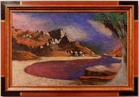 """Jean Lurçat, """"Lac de montagne"""", 1936. J'aime beaucoup le soin apporté à la signature."""