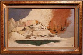 """Jean Lurçat, """"Les bateaux"""", 1934. Avec ce drôle de ciel aux couleurs du drapeau français qui donne une atmosphère un peu inquiétante, je trouve."""