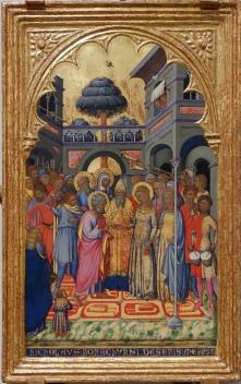 """Niccolo di Buonaccorso, """"Le Mariage de la Vierge"""", vers 1380. Les couleurs me font penser à de l'art thaïlandais."""