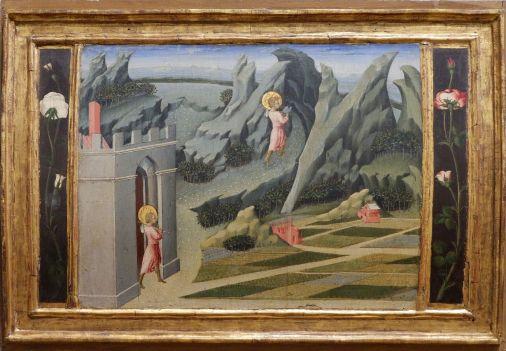 """Giovanni di Paolo, """"Scène de la vie de saint Jean-Baptiste"""", 1454. La forme du tableau convexe est plutôt originale."""