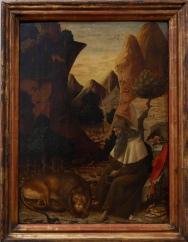 """Bono da Ferrara, """"Saint Jérôme dans un paysage"""", 1450. Astucieuse composition du paysage avec une ligne donnée à la fois par la roche et le col du saint. Il y aurait beaucoup à dire sur cette oeuvre truffée de détails et c'est une des belles surprises de ce musée."""