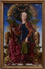 """Cosimo Tura, """"La Muse"""", 1455-1460. Parfois, certains tableaux me donnent l'impression d'être anachroniques et quand c'est le cas, je les trouve très contemporains. Celui-ci, par exemple, me fait penser à une peinture surréaliste dans la manière de représenter le visage, le choix des couleurs et les objets dépeints. Bref, je l'imagine bien parmi les """"montres molles"""" de Salvador Dali."""