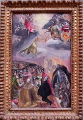 """El Greco, """"L'Adoration du Nom de Jésus"""", 1578. Encore une impression de tableau contemporain, fait au pastel, ou qui serait un vague cousin du """"Sermon"""" de Cézanne."""