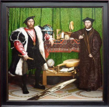"""Hans Holbein, """"Les Ambassadeurs"""", 1533. Un de mes tableaux préférés avec cette drôle d'anamorphose..."""