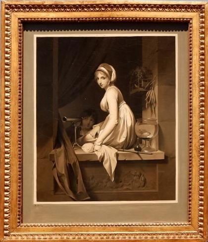"""Louis-Léopold Boilly, """"Jeune fille à la fenêtre"""", 1799. Une impression de voir une photographie ou une gravure. J'aime aussi les objets qui l'entourent : des poissons, des carottes et du matériel optique dont un télescope utilisé par une autre fille cachée dans l'ombre."""