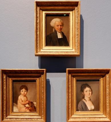 """Louis-Léopold Boilly, """"Portrait d'un jeune garçon jouant avec son chien"""", """"Portrait d'un avocat"""" et """"Portrait de la Comtesse François de Saint-Aldegonde"""", 1800. Il y a tellement de vie et de vivacité dans ces portraits !"""