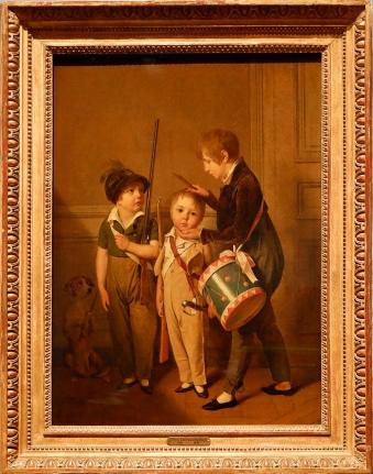 """Louis-Léopold Boilly, """"Mes Petits Soldats"""", 1804. Il s'agit des enfants du peintre. Notez aussi la présence du chien à gauche qui semble aussi vouloir jouer au petit soldat."""