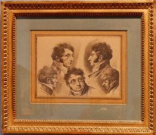 Des études pour un autoportrait du peintre, 1810. Ses petites lunettes rondes et la forme de son nez lui donnent un air un peu stylisé, caricatural. Il semble tout droit sorti d'une bande-dessinée.