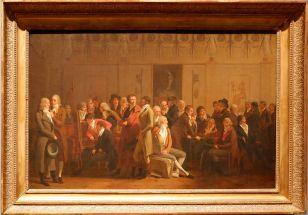 """Louis-Léopold Boilly, """"Réunion d'artistes dans l'atelier d'Isabey"""", 1798. Cela me rappelle un peu Courbet..."""