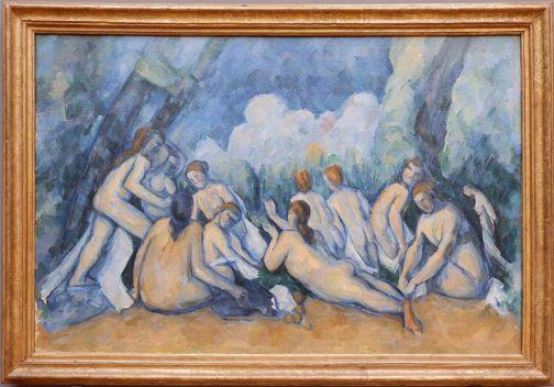 """Paul Cézanne, """"Les Grandes Baigneuses"""", 1894-1905. On parle beaucoup de tableaux et du fait que rien ne vaut de les voir en vrai. C'est le cas pour celui-ci : je me suis noyée dans les contours bleus des baigneuses de ce tableau immense et j'ai mieux saisi les intentions du peintre."""