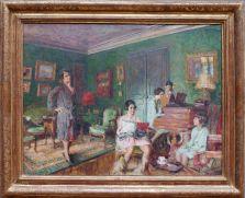 """Edouard Vuillard, """"Madame André Wormser et ses enfants"""", 1926. Le cartel indique qu'aux murs se trouvent des tableaux de Degas, Monet et Renoir, mais je ne trouve pas ça forcément évident à reconnaître !"""