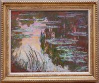 """Claude Monet, """"Nymphéas, Soleil couchant"""", 1907. J'ai ressenti un grand moment de nostalgie pour les couchers de soleil californiens en voyant ce tableau."""