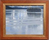 """Askeli Gallen-Kallela, """"Lac Keitele"""", 1905. Mon coup de coeur de cette sortie au musée ! Il s'agit d'un artiste finnois alors évidemment, c'est rafraîchissant car je ne connais pas d'artistes scandinaves de cette époque. La couleur et les effets de l'eau sont incroyables et je voudrais faire une randonnée dans ce tableau."""