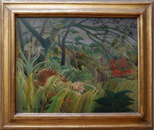 """Le Douanier Rousseau, """"Surpris !"""", 1891. Les tableaux du Douanier Rousseau ont tendance à me faire un peu peur à cause d'un jeu vidéo (pour enfants) auquel je jouais petite..."""
