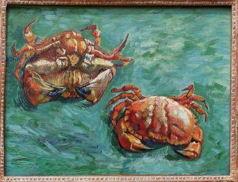 """Vincent Van Gogh, """"Deux Crabes"""", 1889. Quand on parle de ce peintre, on voit beaucoup de choses : des étoiles, des oreilles coupées, une chambre, des autoportraits, mais sûrement pas des crabes ! J'ai été étonnée de voir qui avait peint ce tableau..."""