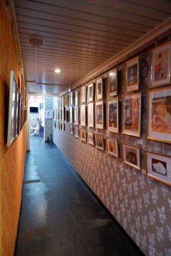 La culture visuelle féline résumée dans un couloir.