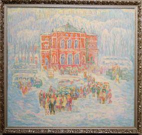 """Vladimir Shpartov, """"Day of Rest, Winter"""", 1978. Nous avons été accueillis par cette première oeuvre. Lumineuse dans un musée sombre."""