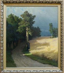 """Arseny Mershchesky, """"Landscape, Forest Road"""", 1883. Emue par ce petit rai de lumière sur le chemin forestier."""