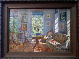 """Stanislav Zhukhovsky, """"Corner Drawing Room"""", 1916. L'endroit parfait pour prendre le thé."""