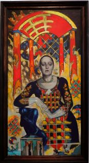 """Alyaksandr Kishchanka, """"Portrait of Svyatlana Garbunova"""", 1995. Mes yeux étaient constamment attiré par ce tableau, seule explosion de couleurs des environs."""