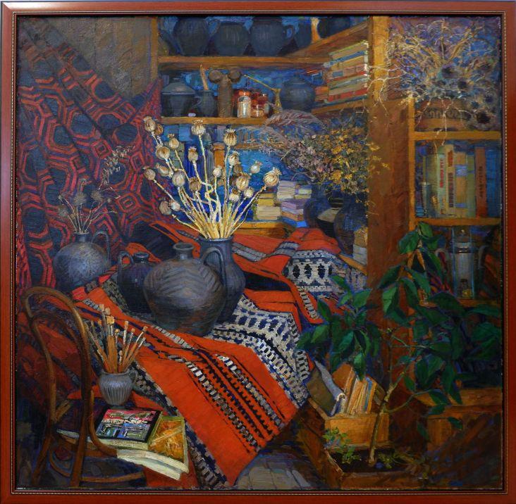 """Valeryana Zholtok, """"Interior with Folk Ceramics"""", 1987-1980. Encore un décor d'intérieur que je verrais bien chez moi."""