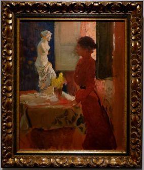 Joaquín Sorolla, Clotilde contemplant la Vénus de Milo, 1919. Un joli jeu de tandem et de profiles.