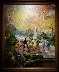 """Joaquín Sorolla, """"Gens en redingotes jouant dans un jardin"""", 1900. J'aime beaucoup le travail des motifs sur les tenues : c'est flou et pourtant, on s'imagine bien les fleurs."""