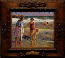 """Enrique Navas Escuriet, """"A la plage"""", 1946. Un petit tableau, mais un de mes préférés avec les jolies couleurs de l'eau."""