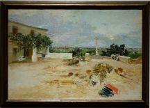 """Ignacio Pinazo Camarlench, """"Paysage de Godella, La Croix du Moulin"""", 1900. Ce """"gribouillage"""" au premier plan est plutôt surprenant."""