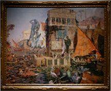 """Antonio Munoz Degrain, """"Le Colosse de Rhodes"""", 1914. Quelle imagination ! J'ai l'impression d'être dans le jeu Submerged, en nettement plus animé cependant."""