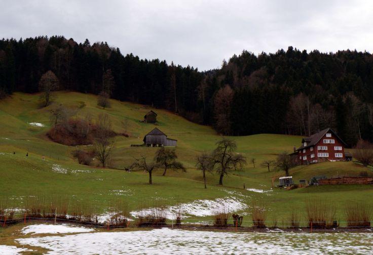 Ebnat-Kappel avec un peu de neige.
