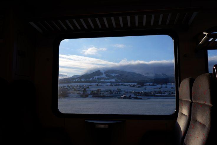 Vue du train entre Genève et Gruyère