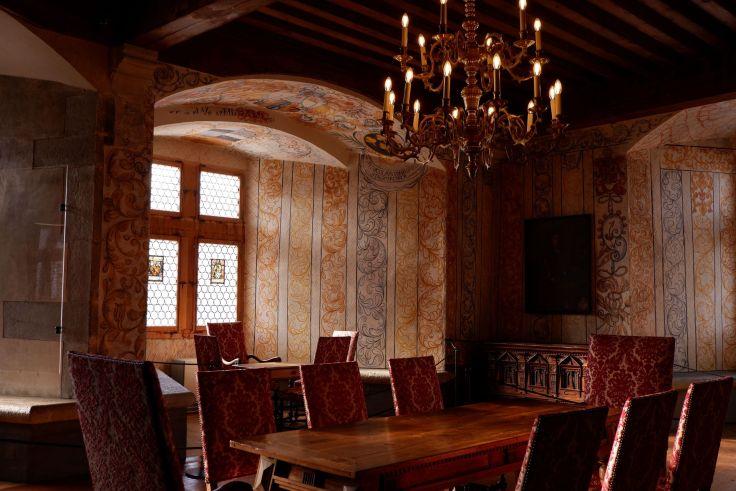 la salle des baillis dans le château de Gruyère