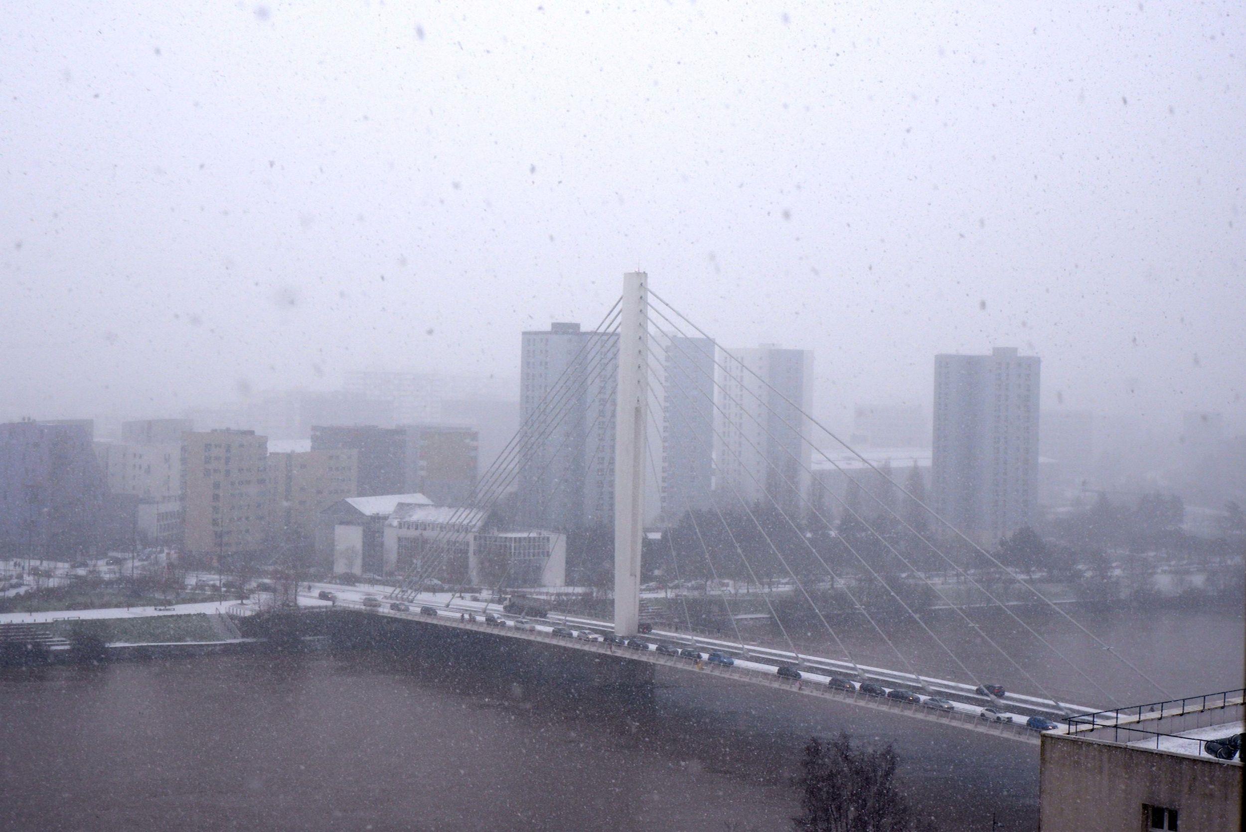 le pont eric tabarly sous la neige