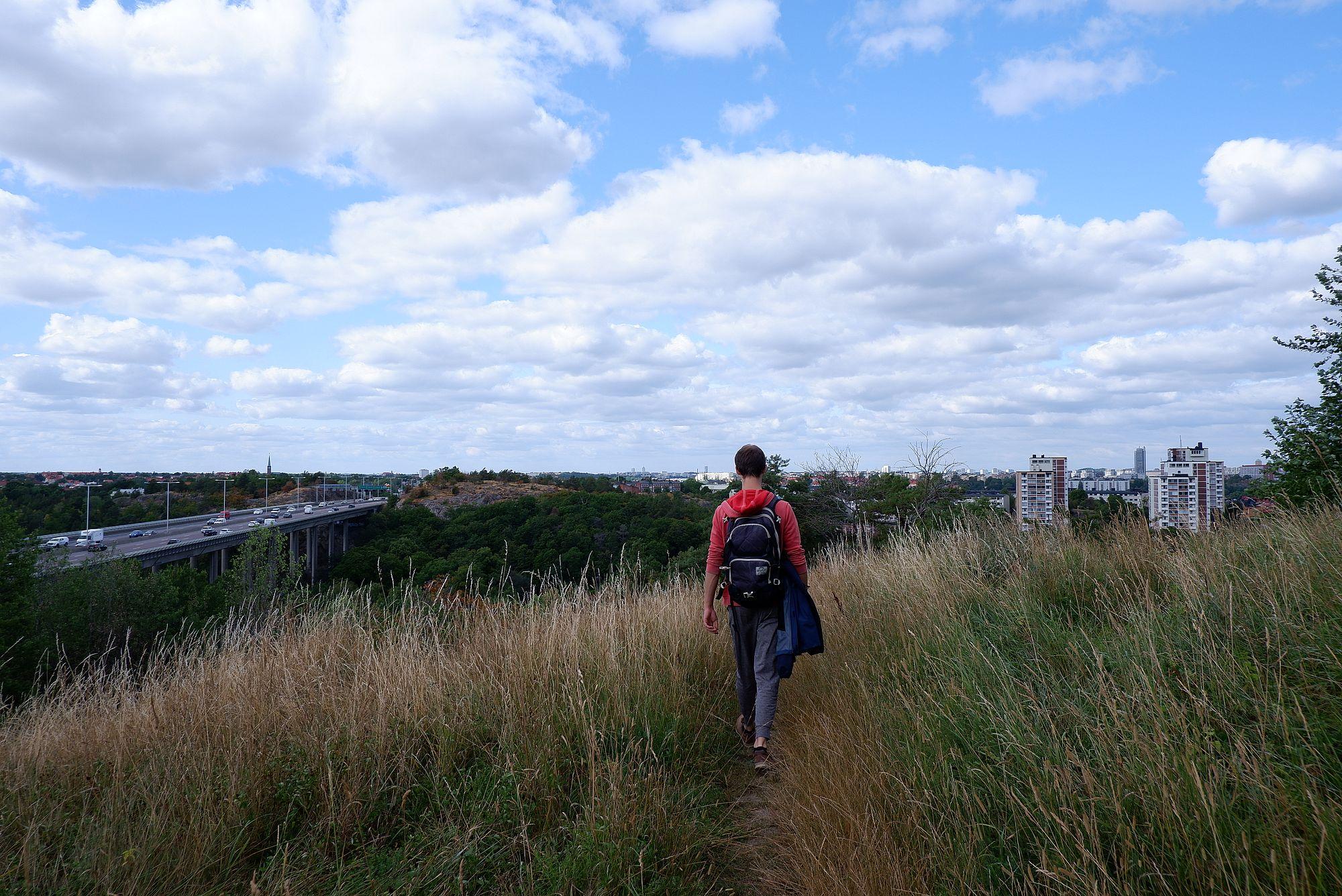 Ryan sur un chemin de hautes herbes bordé d'une autoroute.